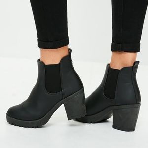 Missguided leather ankle boots
